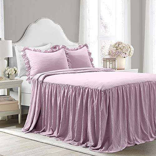 Full 3pc Ruffle Skirt Bedspread Set Purple - Lush Décor