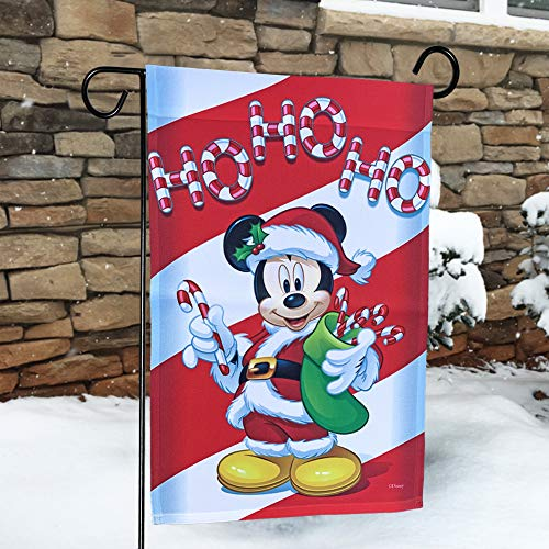 The Galway Company Mickey Mouse Dressed as Santa Garden Flag. Size: 12.5″ x 18″, Flag Stand Sold Separately. Official Disney Licensed Product.