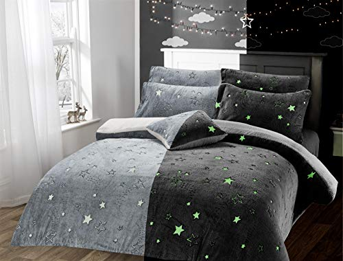 Olivia Rocco Glow In The Dark Teddy Fleece Duvet Cover Sets Soft Warm Kids Bedding Childrens Quilt Covers Set, Stars Grey Single