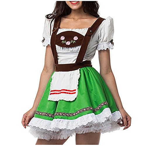 Orgrul Oktoberfest Kostüm Damen, Dirndlkleid Midi für Oktoberfest Karneval, Trachtenkleid mit Schürze, Cosplay Kostüm 25A3