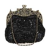 DA BODAN Vintage Clutch Floral Perlen Stickerei Clutch Pailletten Hochzeit Party Prom Bag Bridal Damen Crossbody Abend Handtasche (Schwarz)