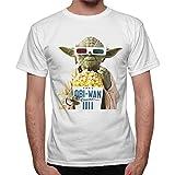 Thedifferent - Camiseta con diseño de Yoda de Stars Wars comiendo palomitas en el cine, color blanco blanco XXL