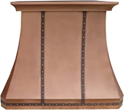 Traditional Copper Kitchen Hood in Natural Copper Patina, Smooth Surface, Comes with Professional Range Hood Insert Sinda H30STR