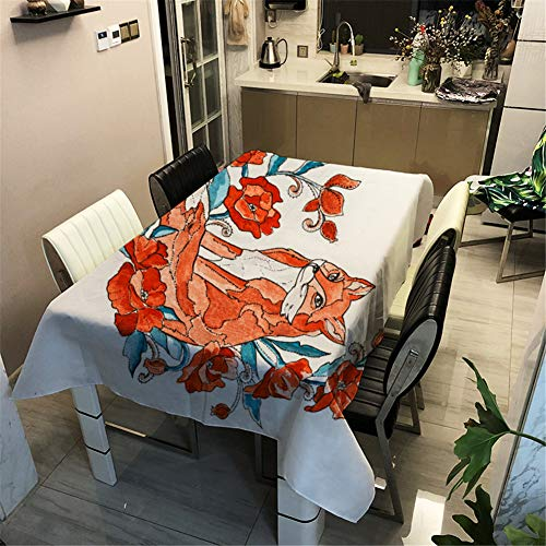 Morbuy Manteles 3D - Animal Imprimir Manteles Mesa Rectangular Cuadrada Impermeable Antimanchas Lavable Mantel para Decoración Hogar Cocina Salón Jardín Comedor (Zorro Rojo,100x140cm)