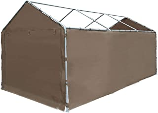 Abba Patio Replacement Canopy Cover for 10 x 20-Feet Carport 8 Legs Carport Shelter with Rings, Brown (Frame & Top Cover Not Included)