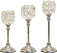 Candle Holders,Crystal Candle Holder - Candlelight Dinner Props Metal Pillar Candle Holders Set Wedding Christmas Table Ce...