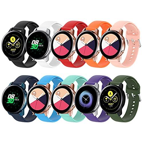 BDIG 10PCS Correas Compatible para Galaxy Watch Active/Active 2 40mm 44mm/Galaxy Watch 3 41mm, 20mm Correa Silicona Recambio Pulseras para Gear Sport/Gear S2 Classic/Galaxy Watch 42mm