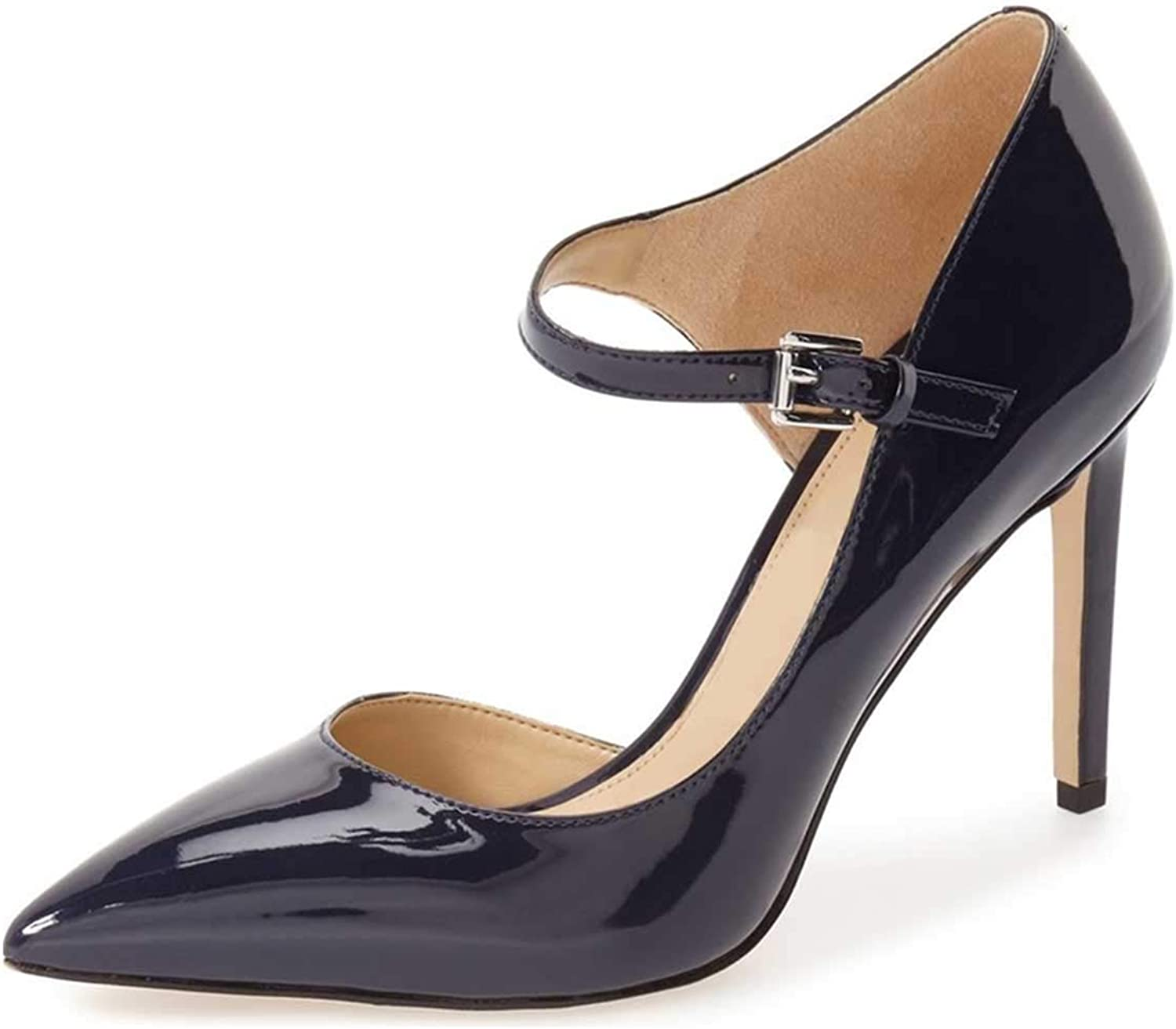 NJ Women Elegant Mary Jane Dress shoes Pointy Toe Stiletto High Heel D'Orsay Glossy Patent Office Lady Formal Party Pumps
