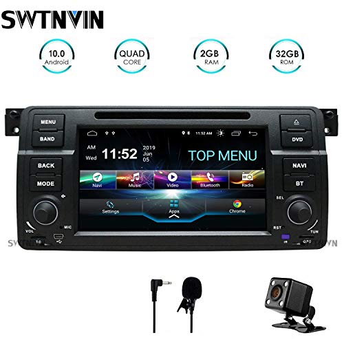 SWTNVIN Android 10.0 Auto Audio Stereo Headunit si adatta per BMW E46 DVD Player Radio 7 Pollici HD Touch Screen GPS Navigazione GPS con Bluetooth WIFI Steering Wheel Control 2GB-32GB