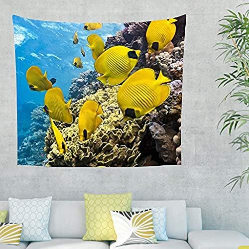 kjbfkghj Wandbehang,Blauer Ozean Meer Gelber Fisch Wandbehang Wandtuch Wandteppiche Picknickdecke Yogamatte Strandteppich Wohnzimmer Decke Stoff-230x150cm