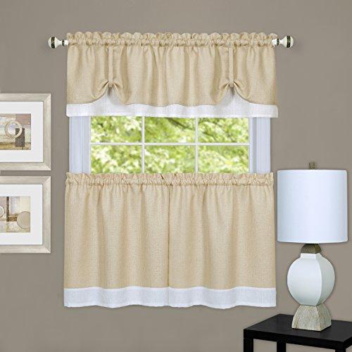 "Achim Home Furnishings DRTV36TW12 Darcy Window Curtain Tier Pair & Valance Set, 58"" x 36"" with 14"" Valance, Tan/White, Pair, Tan & White"