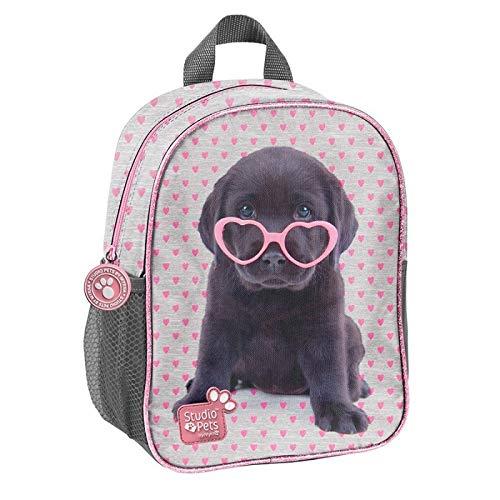 Plecak przedszkolny Studio Pets szary w rózowe serduszka