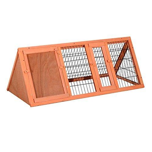 PawHut Hasenstall Hasenkäfig Kaninchenstall Kleintierstall mit Freigehege Hasen Auslauf dreieckig