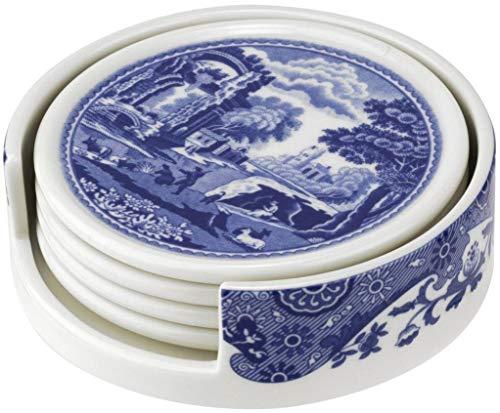 Spode BLI79170-XP Set de 4 dessous de verre italien et support Céramique Bleu