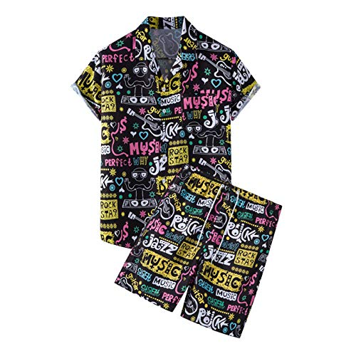 Trajes hawaianos de 2 piezas conjuntos de verano camisas casuales con botones de manga corta y pantalones cortos conjuntos de chándal, Negro, M