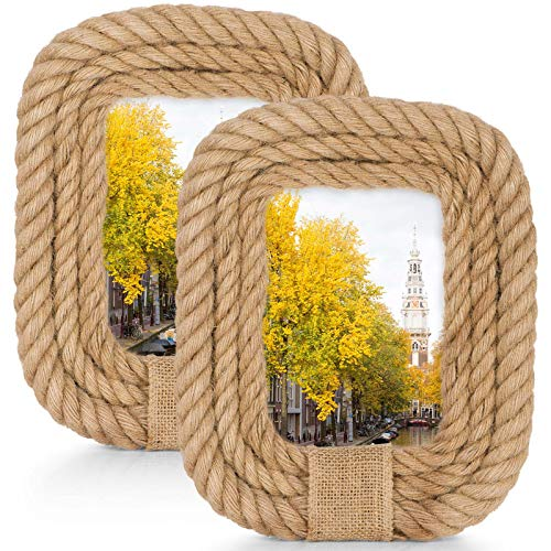 As low as $6 Set of 2 Hemp Rope Picture Frames Clip the extra 60% off coupon, no promo code needed