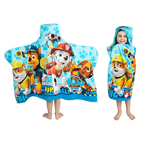 Franco Kids Bath and Beach Soft Cotton Terry Hooded Towel Wrap, 24' x 50', Paw Patrol Blue