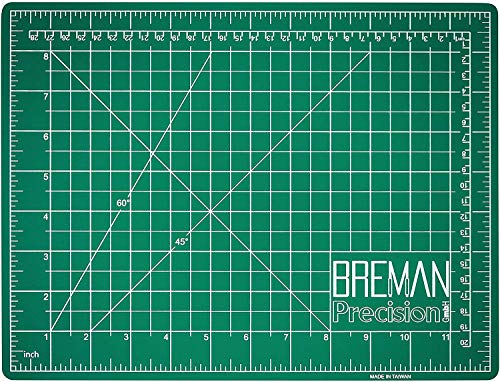 Breman Precision Self Healing Cutting Mat - Sewing Craft Quilting Fabric Rotary Cutting Mat - Perfect for Crafters Hobbyists and Artists - 2 Sided 5 Ply PVC Craft Mat with Grid Lines - A4 9x12 inches