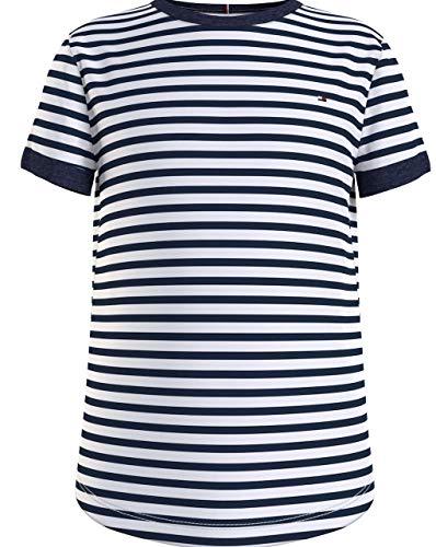 Tommy Hilfiger Essential Stripe Top S/S Camisa, Crepúsculo Navy/Blanco, 92 cm para Niñas