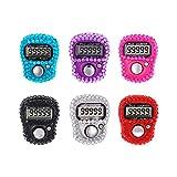 CG Juego de 6 contadores de dedos mecánicos manuales de Lap Tracker, 5 contadores digitales LED electrónicos, forma de diamante