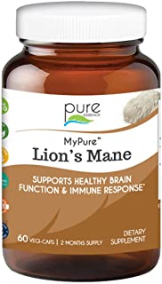 Pure Essence Labs MyPure Lions Mane Organic Mushroom Supplement - 100% Real Mushroom Extract for Immune Support, Combat St...