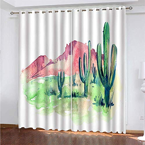 YUNSW Landscape 3D Digital Printing Polyester Fiber Curtains, Garden Living Room Kitchen Bedroom Blackout Curtains, Perforated Curtains 2 Piece Set