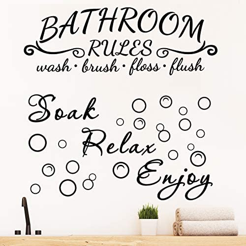 2 Pieces Bathroom Wall Decals Sticker Soak Relax Enjoy Bathroom Rules Wall Sticker Vinyl Quote product image