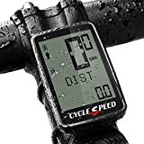 CYCLESPEED Rechargeable Bike Computer Wireless, Waterproof Speedometer Odometer, Digital LCD Backlight Display Bicycle Bicycle Odometer, Cycling Bike Computer Stopwatch for MTB Road Bicycle