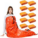 SAINUOD Emergency Sleeping Bag, Waterproof Emergency Mylar Blanket Bivy Sack, with Lightweight Portable Nylon Sack for for Camping Hiking Outdoor Adventure Activities 10 Pack
