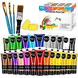 RATEL Set da Colori Acrilici, 30 PCS Set di Premio Pittura Acrilica Compreso 24 x 75 ml Pigmento Acrilico + 4 Pennellino+ 2 Spugna- Colori Vibranti Colore Acrilico per Carta, Roccia, Legno, Ceramica
