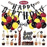 Amycute 49 Stück Zauberer Geburtstag Dekoration Set Krawatte Brille Cupcake Topper Kuchen Dekoration Ballon Banner für Geburtstagsdeko Themenparty.