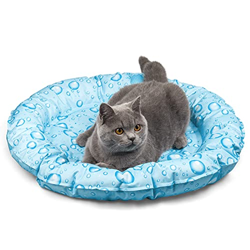 KORIMEFA Cama de enfriamiento para Perros Mascotas Accesorios para Dormir de Verano para Gatos Cachorros Hogar y Viajes (Gotitas de Agua)