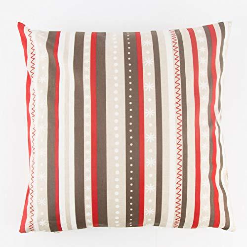 Bonita vida útil. Funda de cojín (40 x 40 cm), diseño de rayas, color rojo, marrón y blanco