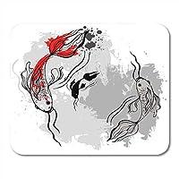 マウスパッド滑り防止防傷に長持ちするコイ赤魚i和風ベクトル化されたブラシペイント日本オリエンタルマウスマット滑り防止防傷に長持ちするマウスパッド滑り防止防傷に長持ちする