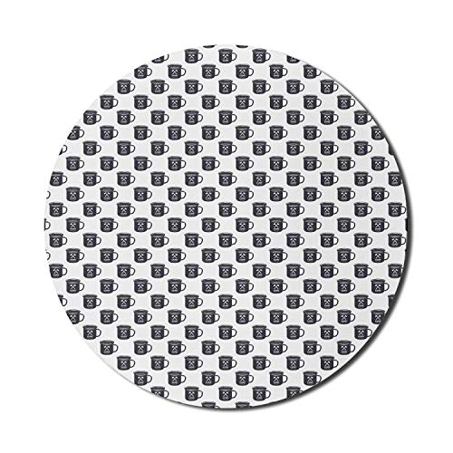 Runde Mausmatte, Teezeit-Mauspad für Computer, Camp im Grunge-Stil für jeden Tag Tassen-Skizze auf einfachem Hintergrund, rundes, rutschfestes modernes Mousepad aus Gummi, dunkelblau-graues und weißes