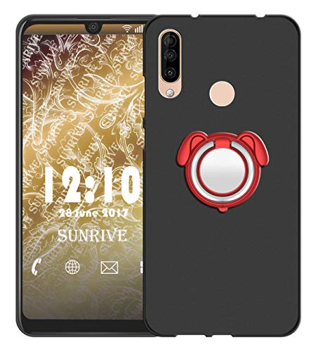 Sunrive Für WIKO View 3 PRO Hülle Silikon, 360°drehbarer Ständer Ring Fingerhalter Fingerhalterung Handyhülle matt Schutzhülle Etui Hülle (Farbe rot)+Gratis Universal Eingabestift MEHRWEG
