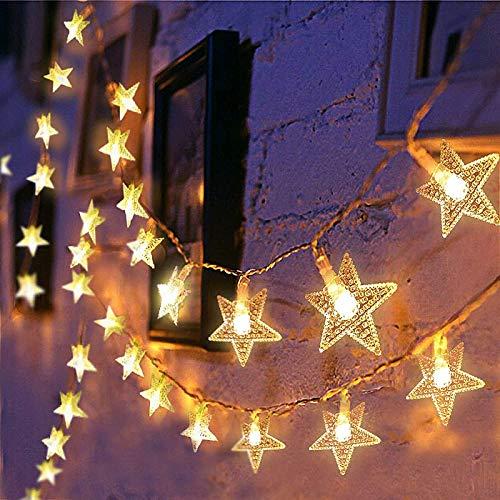 Lichterkette LED Sterne 3M 2Modi 20LEDs Batteriebetrieben innen&außen Dekoration Lichter für Fenster Tür Schlafzimmer Party Hochzeit Garten Festival Romantisch Warmweiß