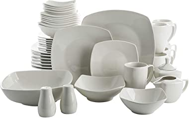 Gibson Home Zen Buffet Dinnerware Set, Service for 6 (39pcs), White (Square)