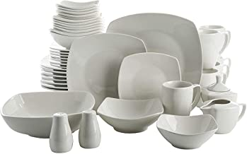 Gibson Home Zen Buffetware 39 Piece Porcelain Dinnerware Set Service for 6 with Serveware, Square, White - 103609.39RM