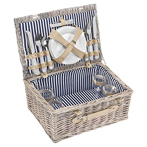 anndora Picknickkorb 4 Personen Weidenkorb Beige mit Zubehör 21 Teilig