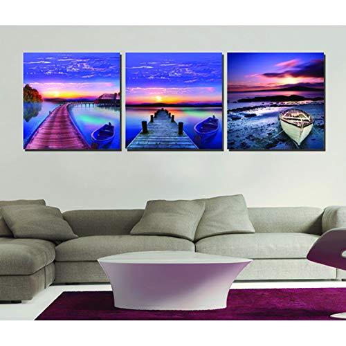 XKA Tríptico 3 Paneles Cuadros De Pared Sin Marco para Sala De Estar Lienzo Pintura Al Óleo Impresiones Abstracto Paisaje Azul Cielo Mar Madera Camino