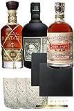 Dictador Gläser 3 Stück + Rum Dreier Set: Botucal 12 Years, Plantation XO und Don Papa 0,7 Liter +...
