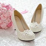 JINGXINSTORE Handmade Pearl White Lace shoess novia boda zapatos de tacón alto,UK3/EU36/US5/AU5,8cm/3.1'