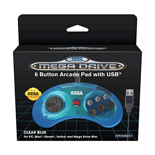 Retro-Bit Official SEGA Mega Drive USB 6-Button Controller for MEGA DRIVE MINI CONSOLEPCSwitchMacSteamRaspberry Pi - Clear Blue [ ]