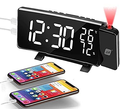 NK Radiosveglia digitale - Radiosveglia con Proiettore, Porta USB, Rotazione 180, Schermo curvo, Doppio allarme, Radio FM, 4 Luminosità di proiezione, Colore Nero