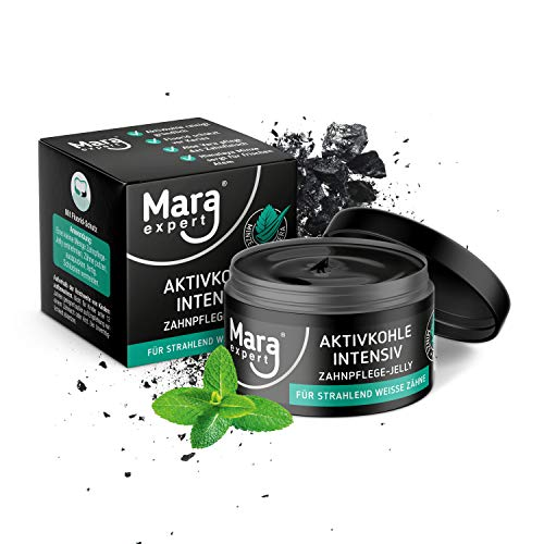 MARA EXPERT Aktivkohle Jelly 50ml | Zahnaufhellung Set | Mit Aloe Vera & Minzgeschmack | Aktivkohle Pulver & Aktivkohle Zahnpasta Alternative