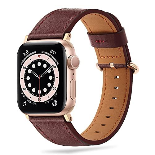 Tasikar Correas Compatible con Correa Apple Watch 41mm 40mm 38mm, Banda de Repuesto de Cuero Genuino Compatible con iWatch SE Series 7 6 5 4 3 2 1 - Vino Tinto/Oro Rosa