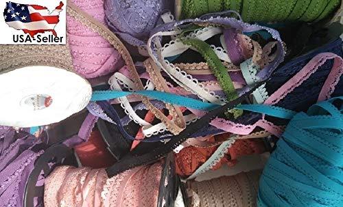 LOT 50 Yards Random Mixed Picot Edged Lingerie Sewing Elastic 1/2 3/8#ID-86