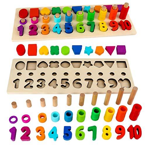 モンテッソーリ 積み木 学習 パズル - 数字 パズル 型はめ 木製 1-10 おもちゃ パズル 数字 ゲーム 知育おもちゃ 学習玩具 ブロックおもちゃ 数学力アップ 6 歳