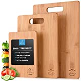 Zulay (3-Piece) Bamboo Wooden Cutting Boards For Kitchen - Premium 3 Assorted Sizes Wood Cutting...